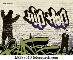 graffiti, wand, und, hip hop, person
