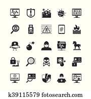 Hacker Black Icons Set