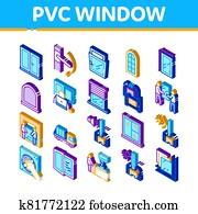 pvc fenêtre cadres isométrique icônes set vector