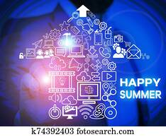 Word writing text Happy Summer. Business concept for Beaches Sunshine Relaxation Warm Sunny Season Solstice Male human wear formal work suit presenting presentation using smart device.