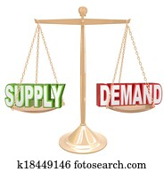 Supply and Demand Balance Scale Economics Principles Law