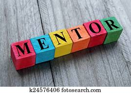 word mentor on colorful wooden cubes