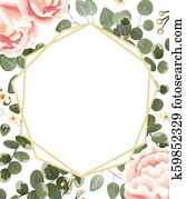background for text from pink peonies, Jasmine, gray and green eucalyptus. invitation, postcard with eucalyptus. rustic style, Botanical style. burrow with greens and flowers. vector illustration