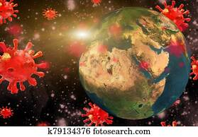 coronavirus covid-19 virus earth planet global attack background danger - 3d rendering