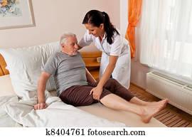 krankenschwester, in, altenpflege, für, dass, ?lter