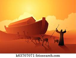 Noah and the ark before great flood