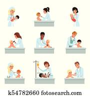 Pediatrician doctors doing medical examination of little kids set, male and female doctors checkup for babies vector Illustrations