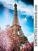 Springtime in Paris. Eiffel tower