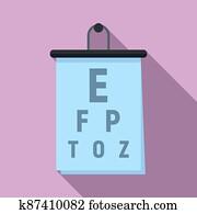 Eye examination banner icon, flat style