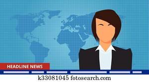 Headline Or Breaking News Woman Tv Reporter Presenter