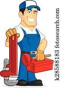klempner, halten, werkzeuge