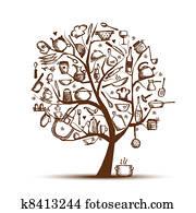 kunst, baum, mit, kueche, utensils,, skizze, zeichnung, für, dein, design
