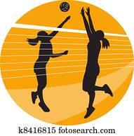 Volleyball Player Spiking Blocking Ball