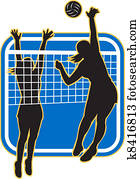 Volleyball Player Spiking Blocking
