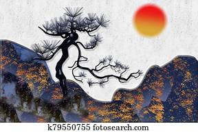 3d illustration, gray textured background, abstract mountains, large black pine, sunset