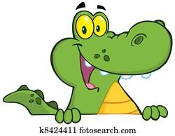 Alligator Or Crocodile Over A Sign