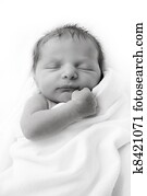 Black and White portrait of tiny newborn infant in blanket
