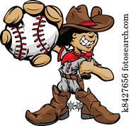 Cartoon Cowboy Kid Baseball Player
