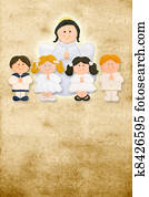 first communion card vertical, angel with a group of children