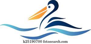 Pelican bird logo