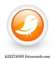 twitter orange glossy web icon on white background