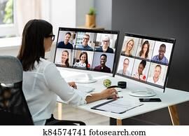 Video Conferencing Webinar Meeting. Watching Online