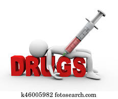 3d man syringe narcotics and drugs concept