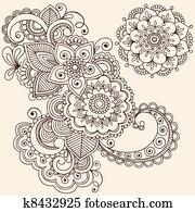 Henna Mehndi Tattoo Design Elements