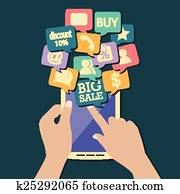 online shopping flat design