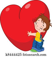 Kid hug heart