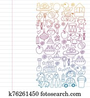 robot,, ufo,, alien,, car,, flugzeug., vektor, pattern., gekritzel, kinder, zeichnung, style., kindergarten, vorschulisch, schule, children.