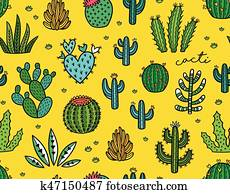 Succulent colorful seamless pattern. Hand drawn vector background