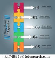puzzel, logo., geschaefts, Infographics.