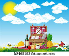 basket for a picnic with tableware and foods on nature