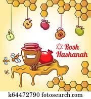 Rosh hashanah honey concept background, cartoon style