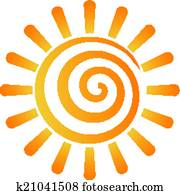 Abstract spiral sun image logo