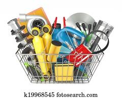 Auto parts store. Automotive basket shop