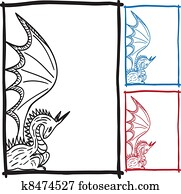 Dragon sketch frame picture