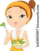 Girl Post Workout Salad