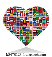world flags with heart