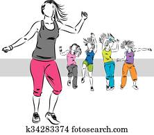 zumba dancers group illustration D