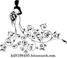 abstrakt, muster, wedding, braut, silhouette