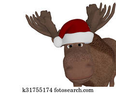 Cute cartoon 3d moose with a christmas hat