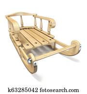 Wooden decorated sledge Front view 3D