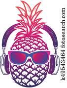 ananas, mit, sunglases, und, headphones., summer, consept., vektor