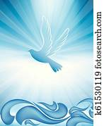 Christian baptism symbol with dove and waves of water on blue background