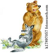 Happy cute bear and wolf