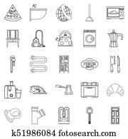 Rooming house icons set, outline style