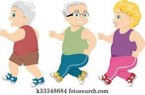 Seniors Jogging Walking