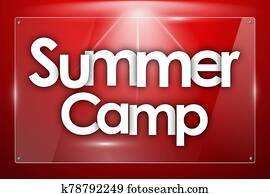 Summer Camp word in colored rectangles background